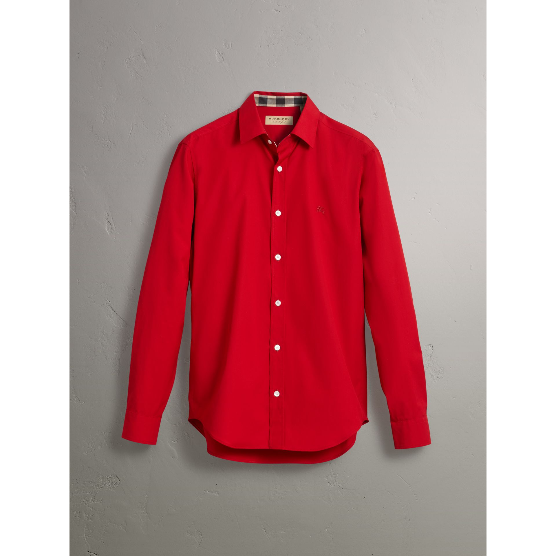 Check Detail Stretch Cotton Poplin Shirt in Bright Red - Men | Burberry Singapore - gallery image 3