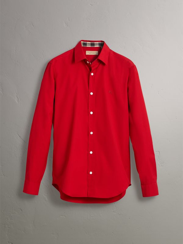 Check Detail Stretch Cotton Poplin Shirt in Bright Red - Men | Burberry - cell image 3
