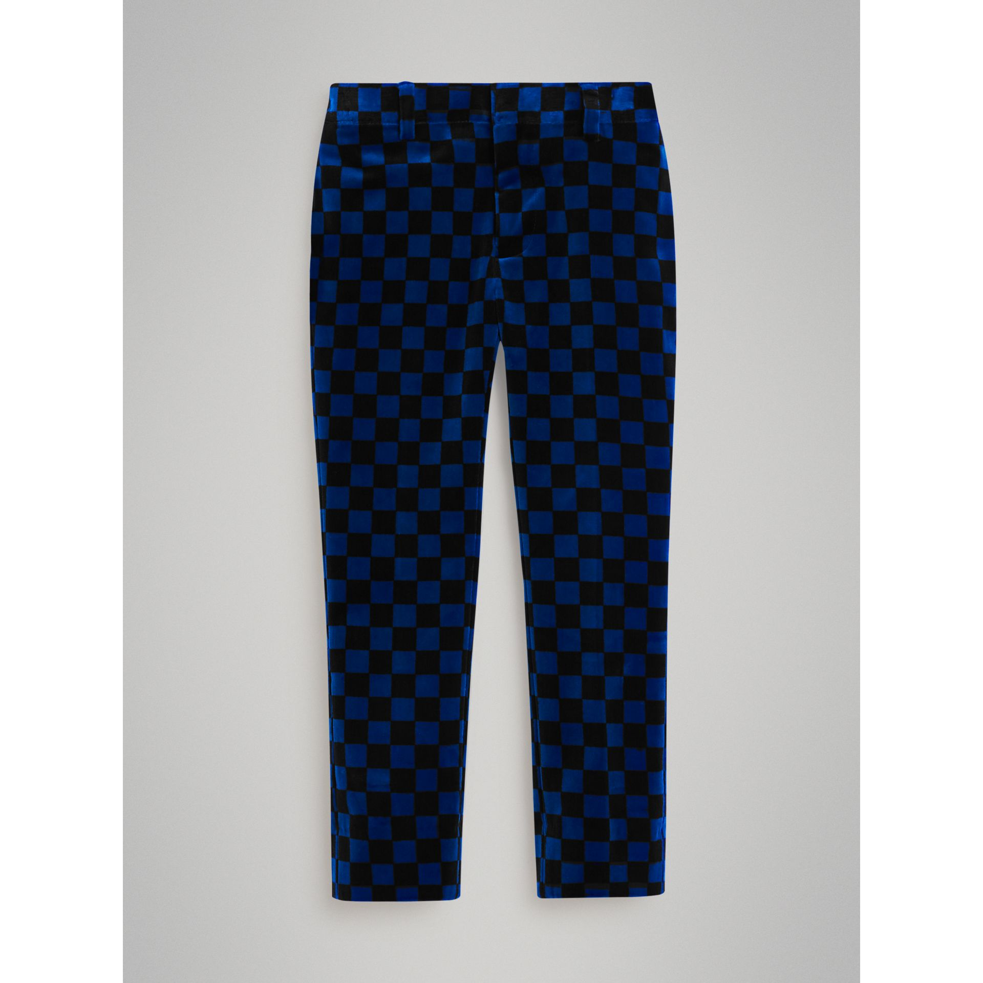 Chequer Stretch Velvet Trousers in Bright Blue | Burberry - gallery image 0
