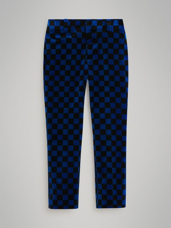Chequer Stretch Velvet Trousers in Bright Blue