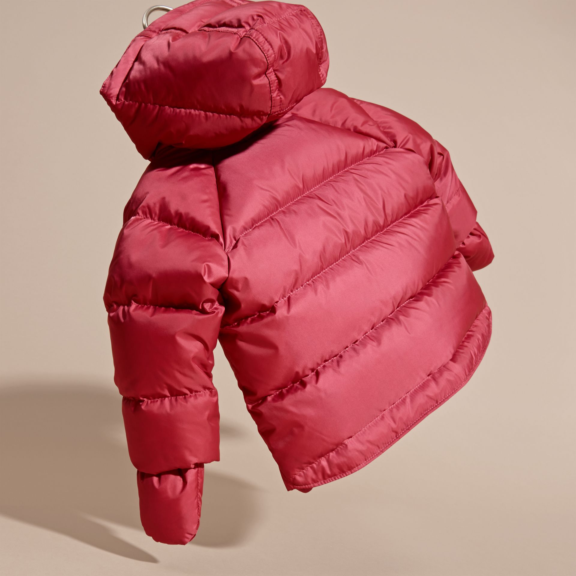 Hooded Down-filled Puffer Jacket with Mittens in Peony Rose - gallery image 4