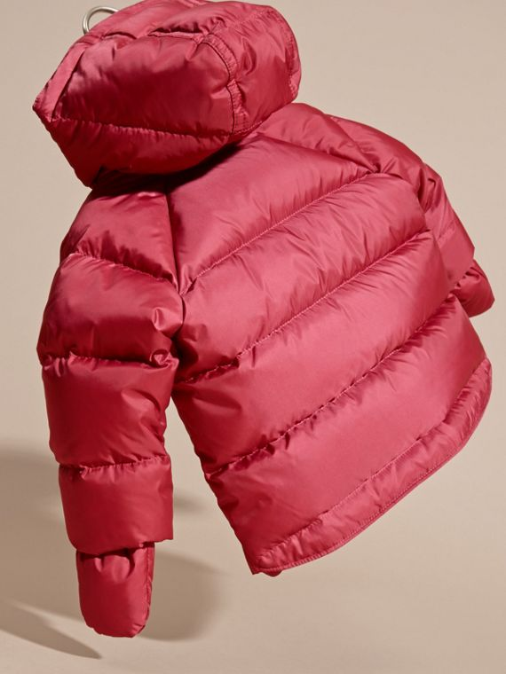 Hooded Down-filled Puffer Jacket with Mittens in Peony Rose | Burberry United Kingdom - cell image 3