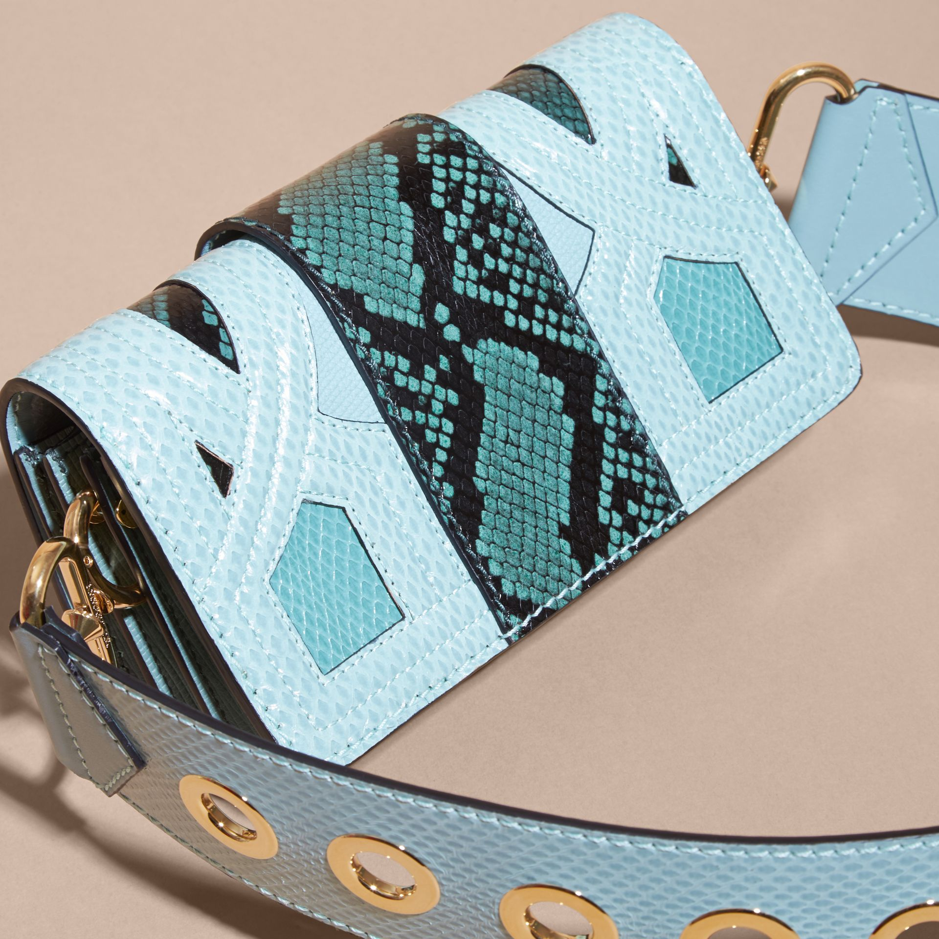 The Patchwork in Snakeskin and Suede in Blue - Women | Burberry - gallery image 4