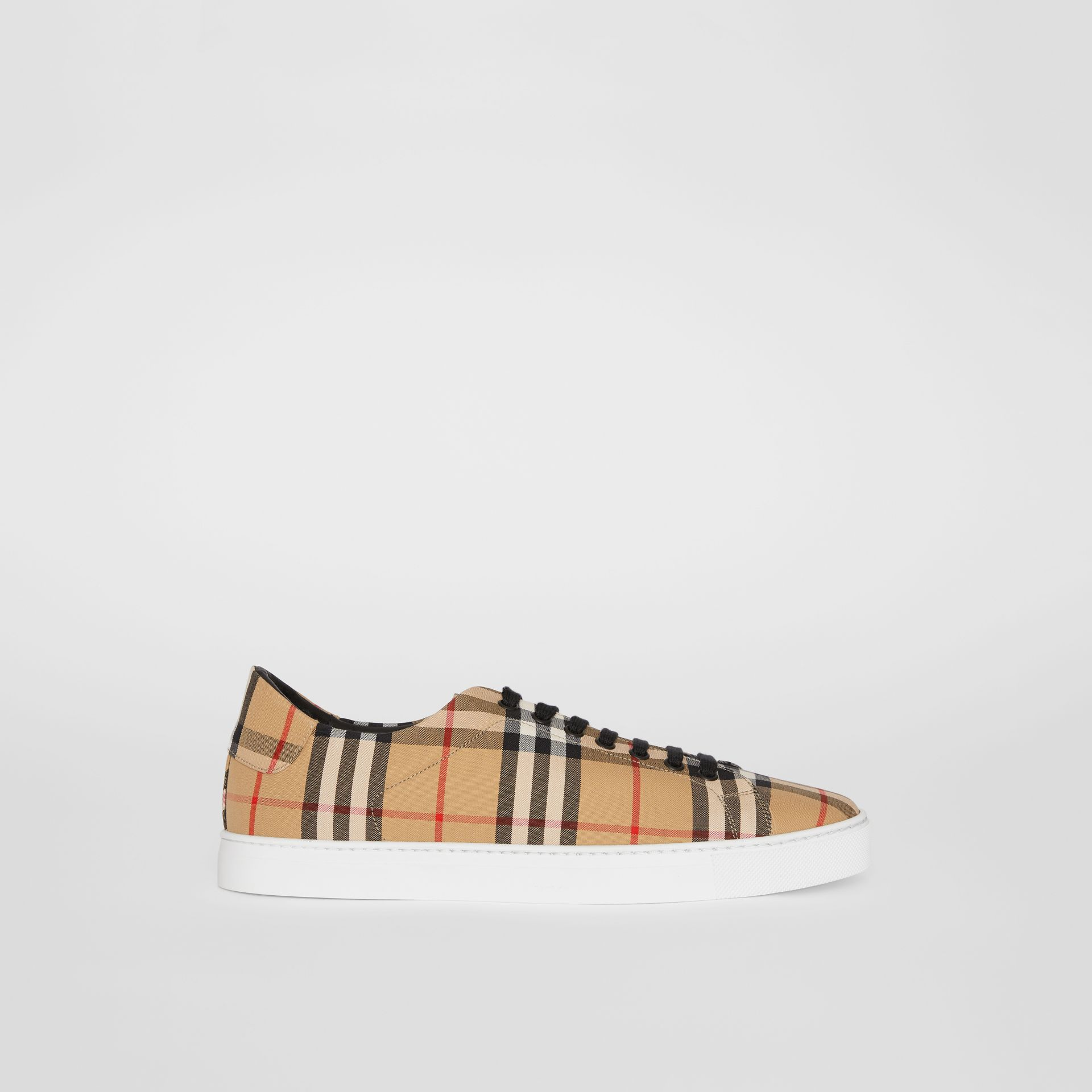 Vintage Check and Leather Sneakers in Antique Yellow - Men | Burberry - gallery image 4