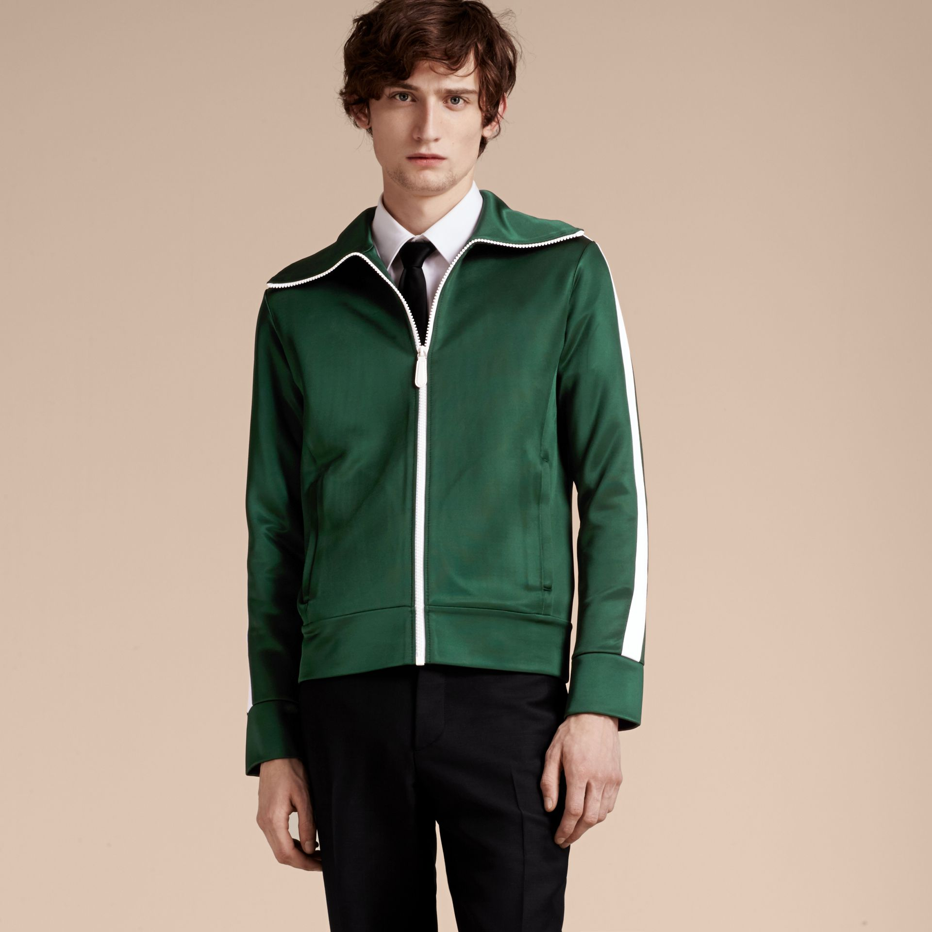 Deep green Stripe Detail Zip Front Jacket Deep Green - gallery image 5