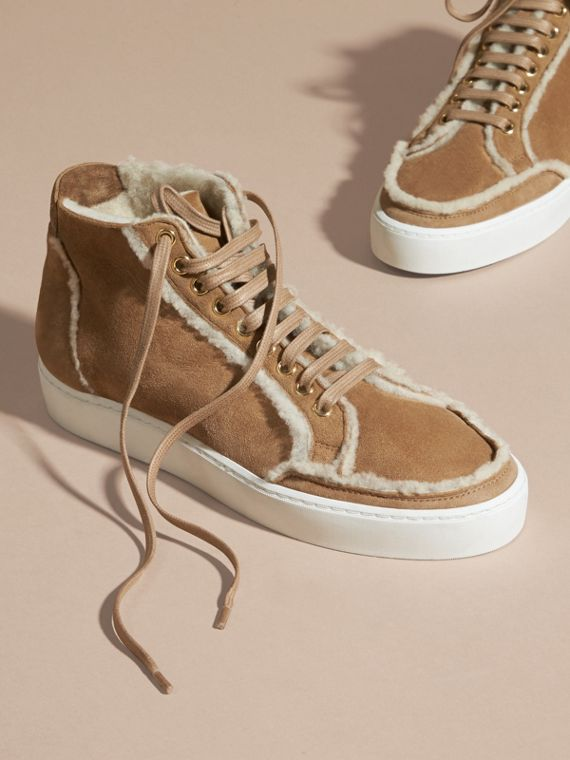 Marrone malto Sneaker alte in shearling - cell image 2