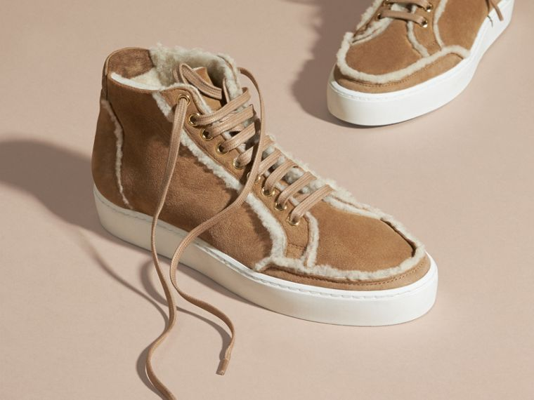 Malt brown Shearling High-top Trainers - cell image 2