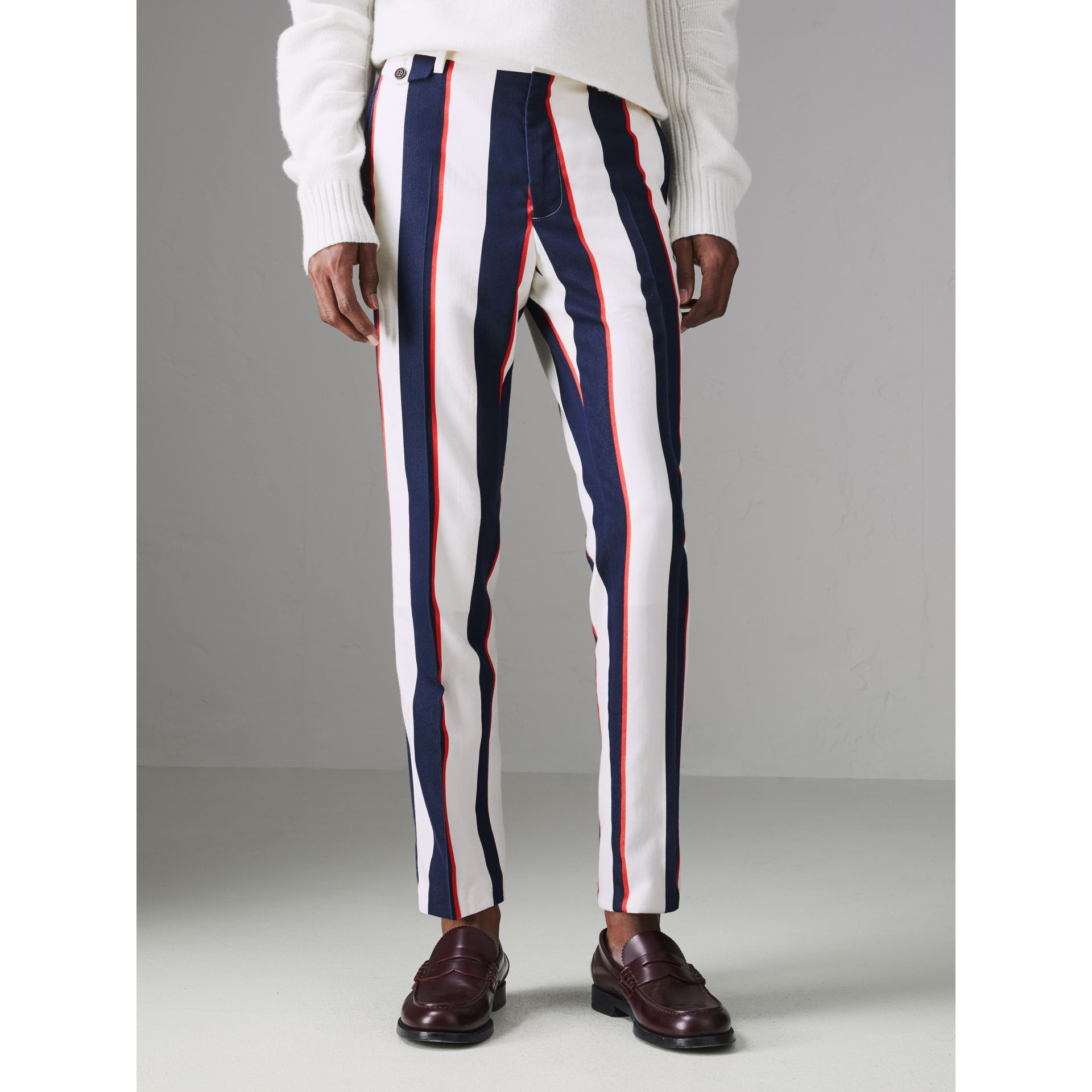 Striped Cotton Wool Blend Tailored Trousers in Natural White - Men | Burberry - gallery image 4