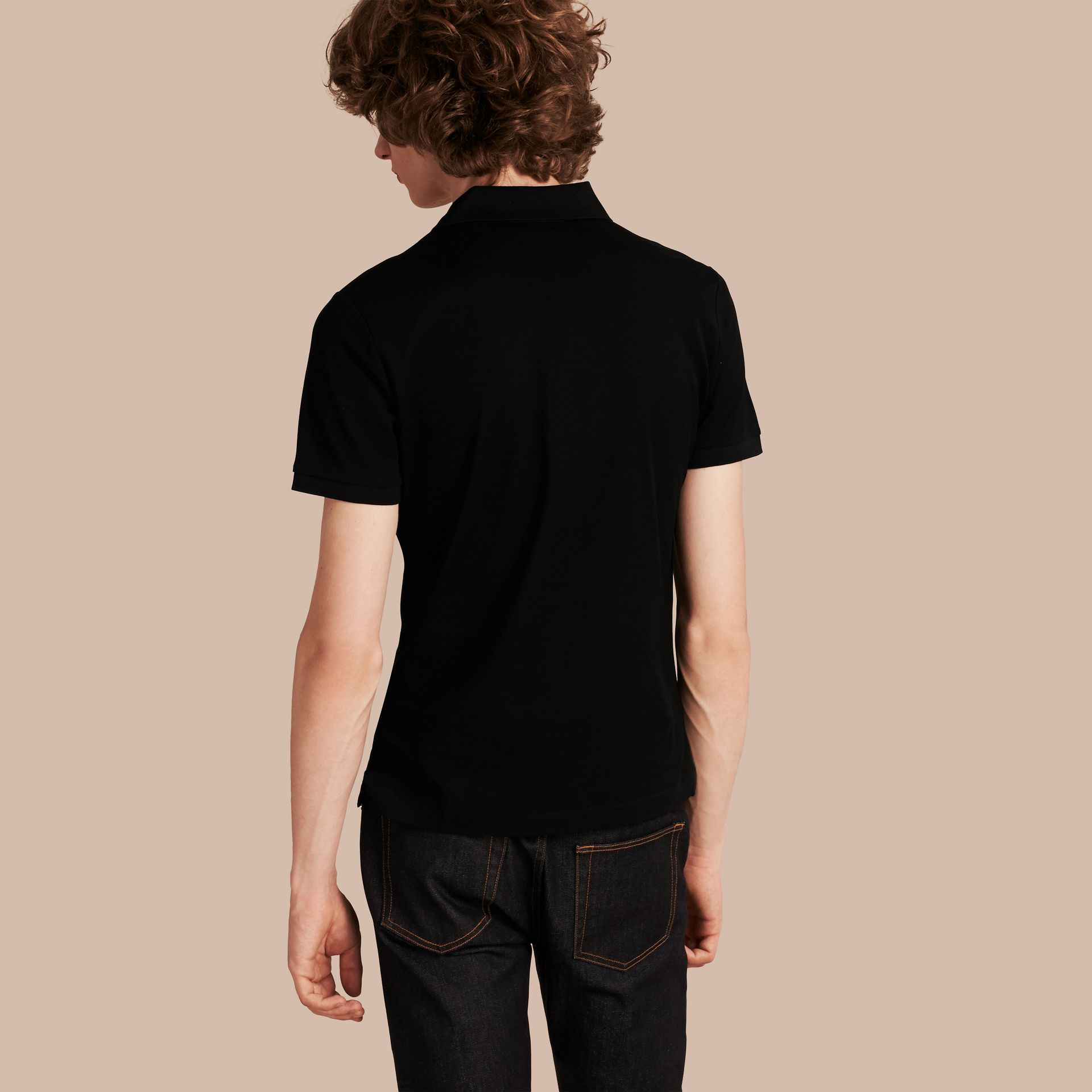 Fitted Mercerised Cotton-Piqué Polo Shirt Black - gallery image 3