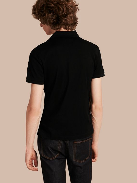 Fitted Mercerised Cotton-Piqué Polo Shirt Black - cell image 2