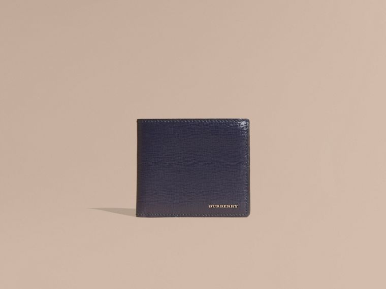 London Leather International Bifold Wallet in Dark Navy | Burberry United Kingdom - cell image 1