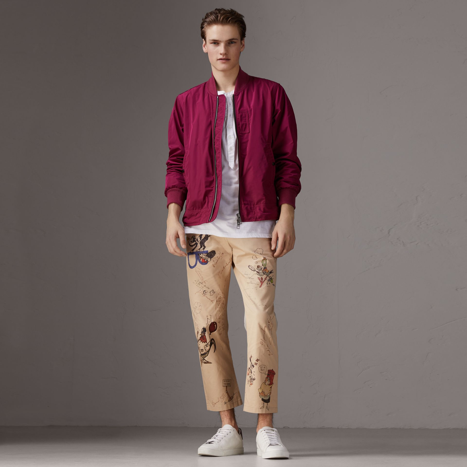 Shape-memory Taffeta Bomber Jacket in Fritillary Pink - Men | Burberry - gallery image 0