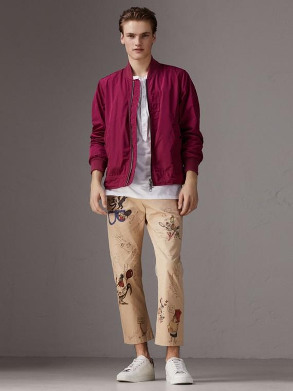 Shape-memory Taffeta Bomber Jacket in Fritillary Pink