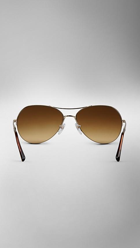 Pale gold Half-Frame Aviator Sunglasses - Image 3