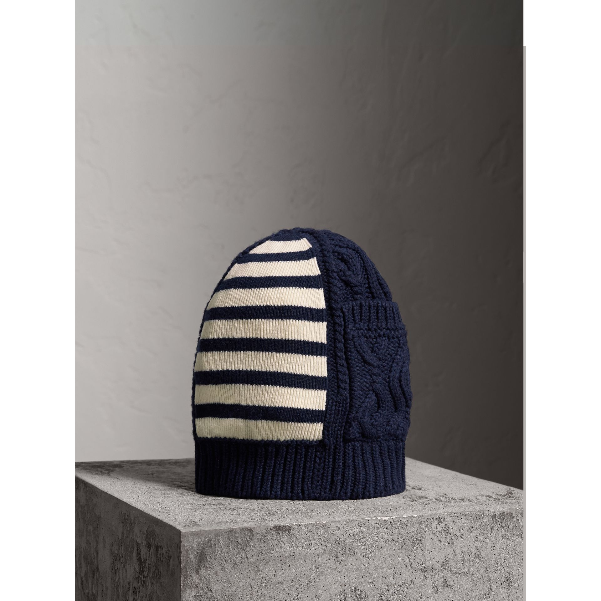 Cable Knit Striped Wool Cashmere Blend Beanie in Navy | Burberry - gallery image 0