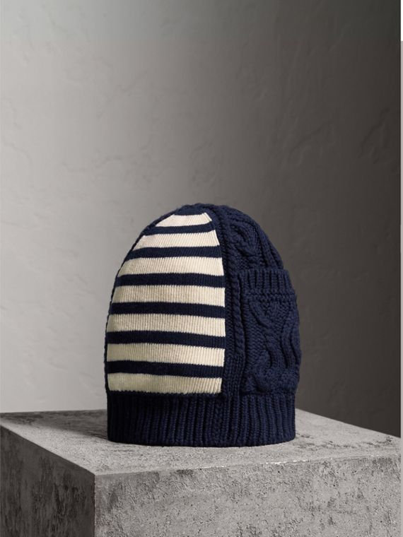 Cable Knit Striped Wool Cashmere Blend Beanie in Navy