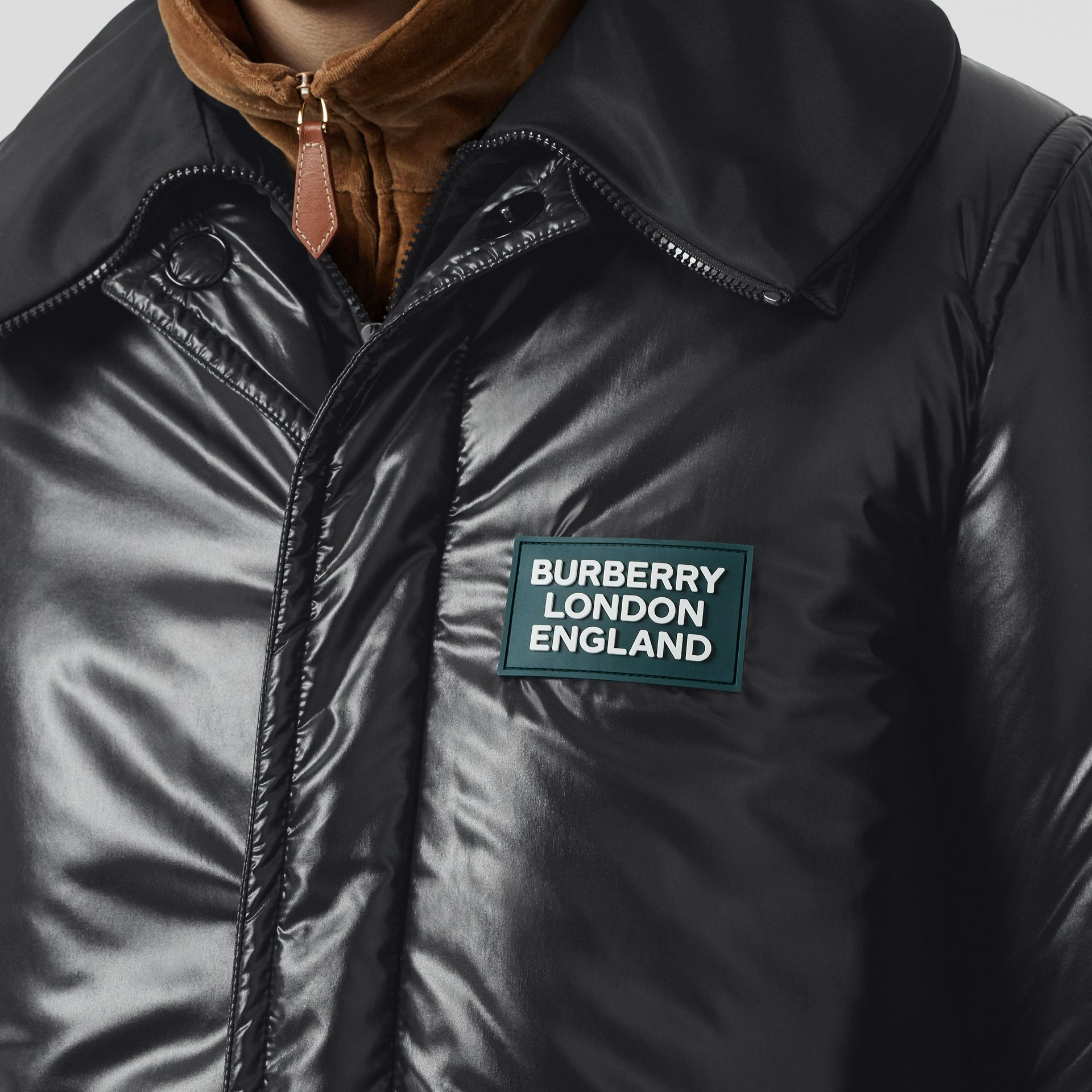 Detachable Funnel Neck Padded Nylon Car Coat in Black - Men | Burberry - gallery image 7