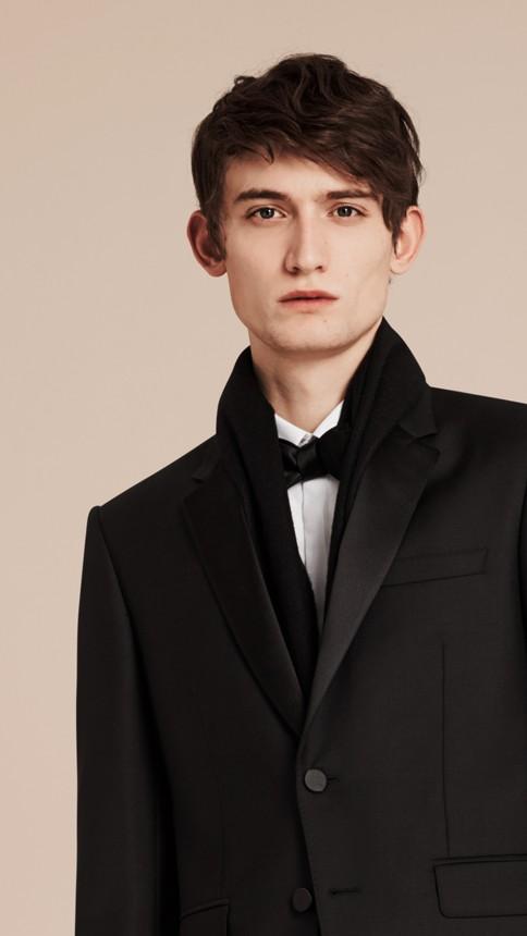 Black Modern Fit Wool Mohair Half-canvas Tuxedo - Image 6