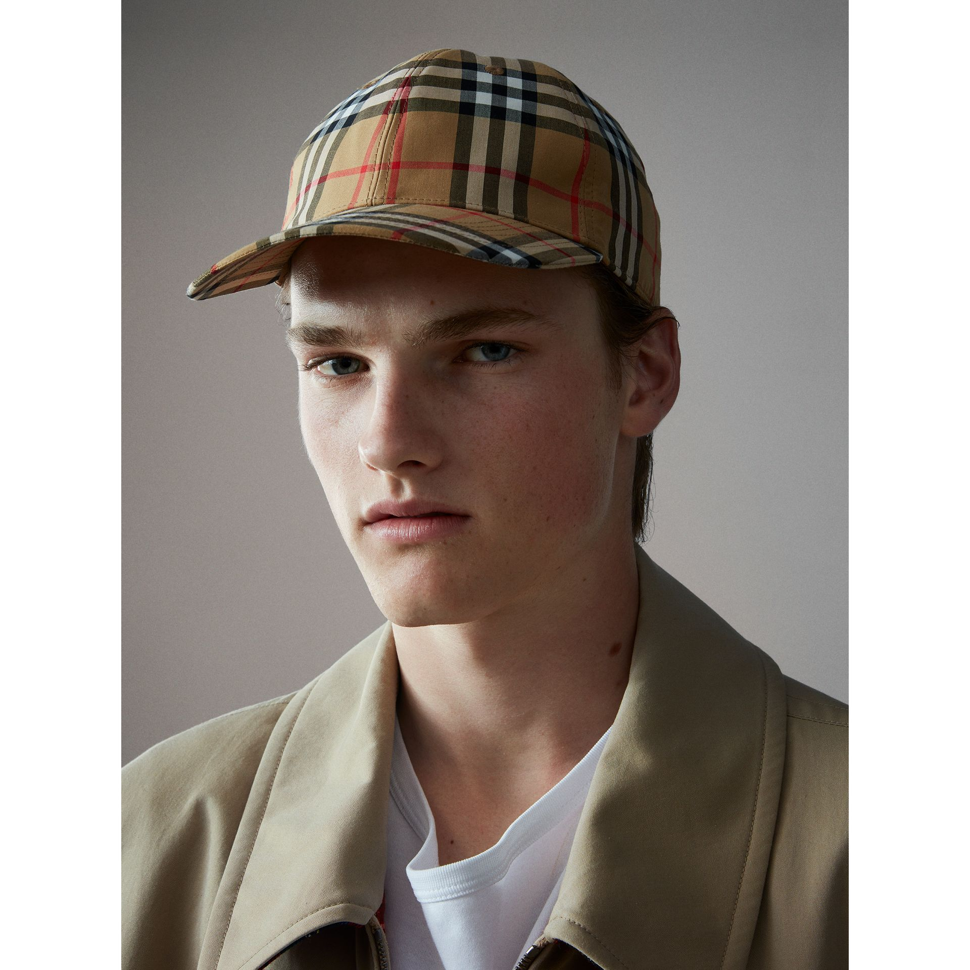 Vintage Check Baseball Cap in Antique Yellow | Burberry - gallery image 4
