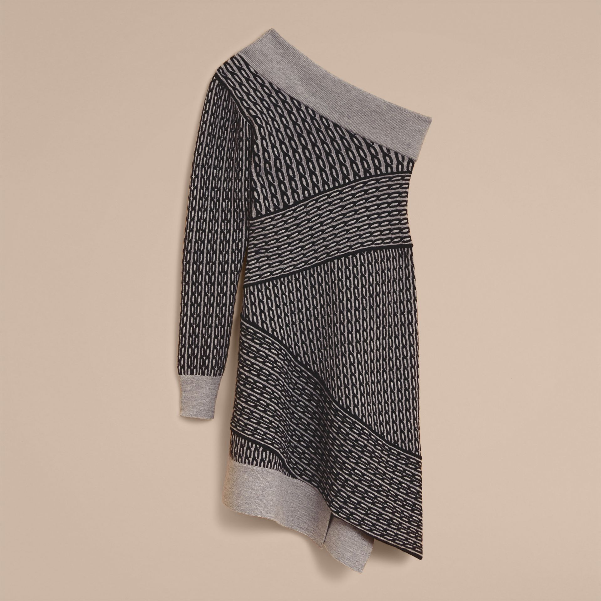 One-shoulder Cable Knit Wool Blend Dress in Grey Melange/black - Women | Burberry - gallery image 7