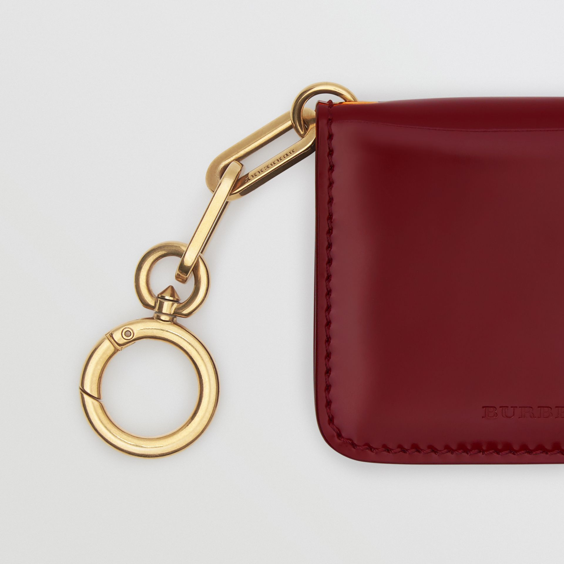 Link Detail Patent Leather ID Card Case Charm in Crimson - Women | Burberry United States - gallery image 1