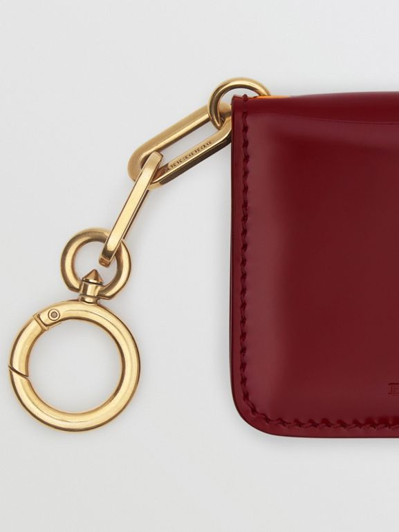 Link Detail Patent Leather ID Card Case Charm in Crimson - Women | Burberry United States - cell image 1