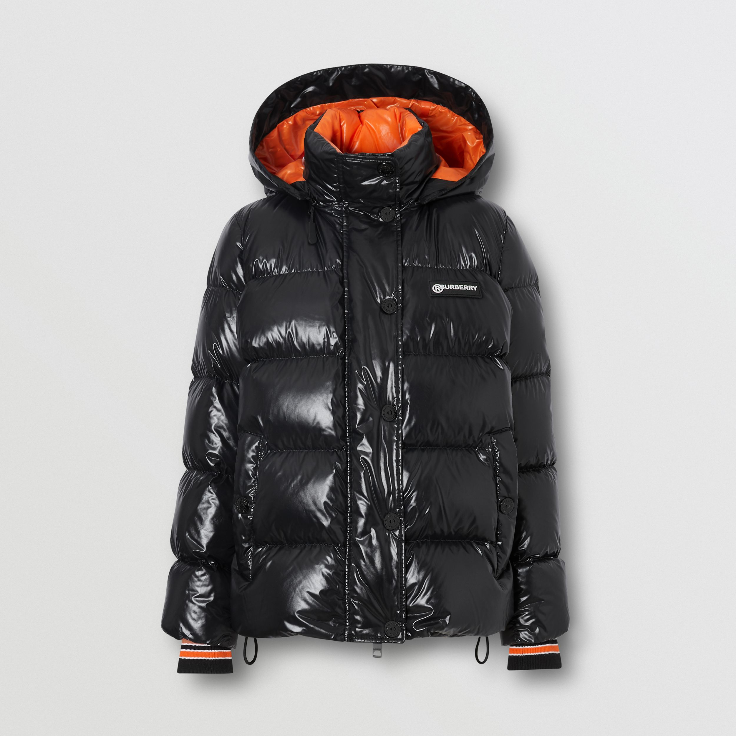 Detachable Hood Logo Graphic Puffer Jacket in Black - Women | Burberry - 4