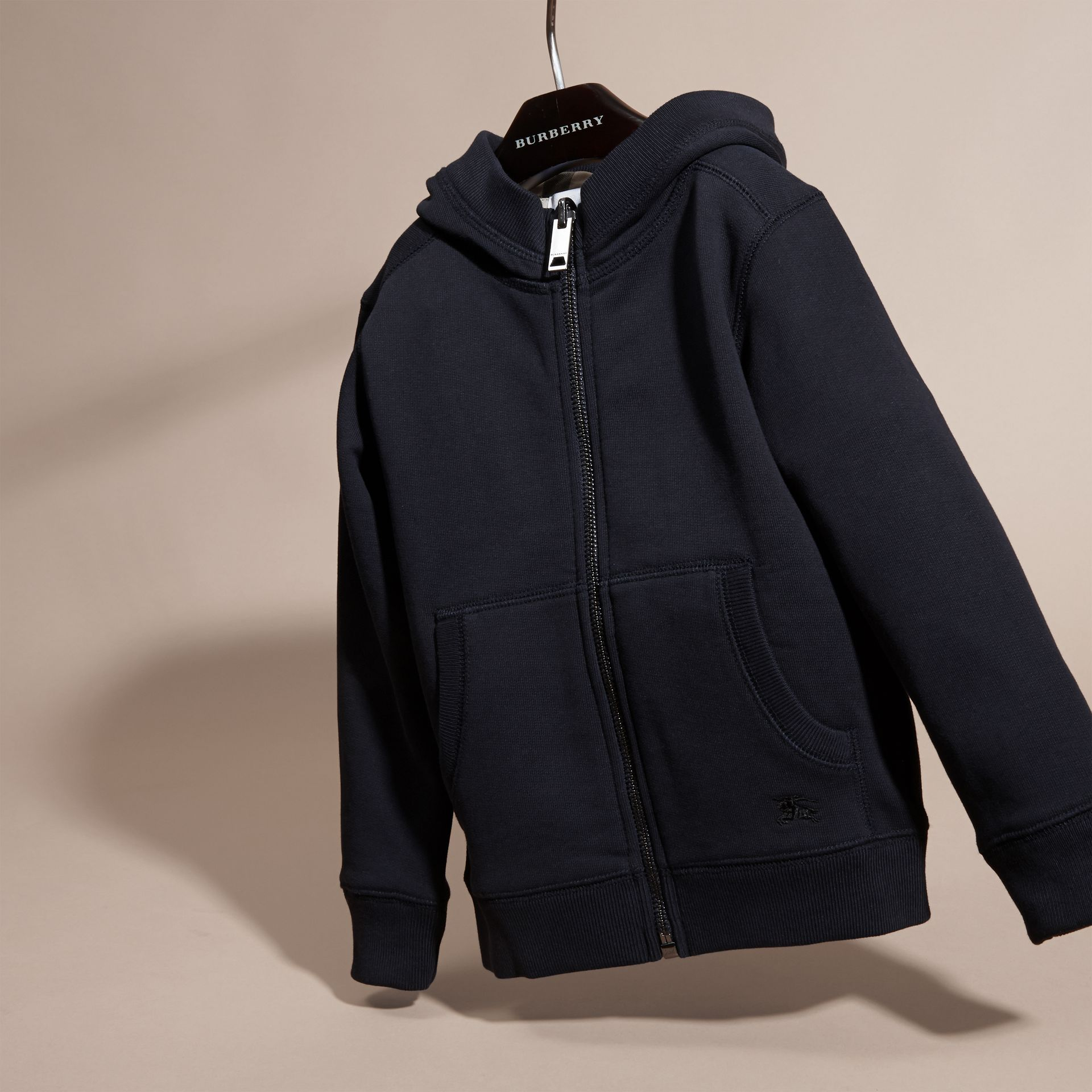 Dark navy Hooded Cotton Top Dark Navy - gallery image 3