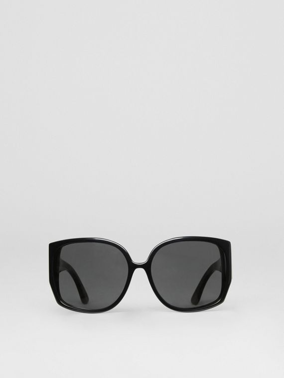 Monogram Detail Round Frame Sunglasses in Black