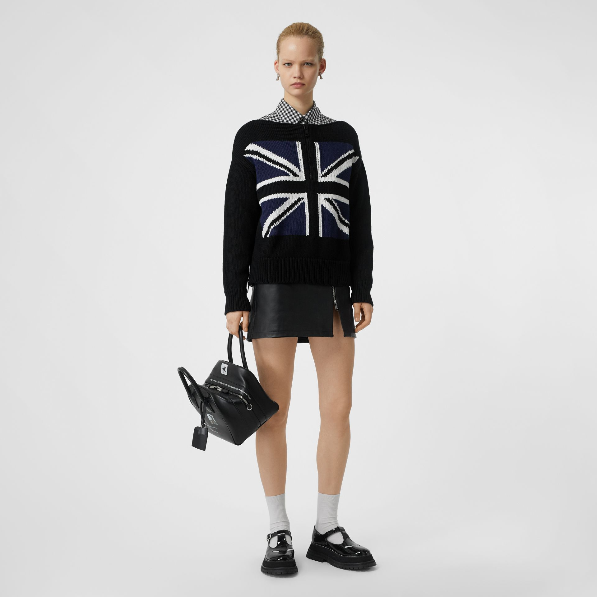 Zip Detail Union Jack Intarsia Cotton Sweater in Black - Women | Burberry - gallery image 0