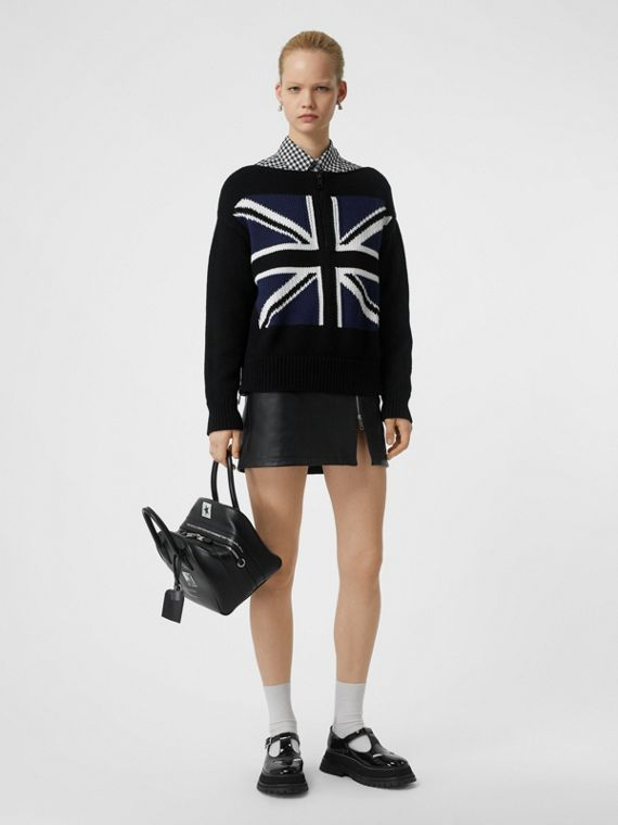 Zip Detail Union Jack Intarsia Cotton Sweater in Black