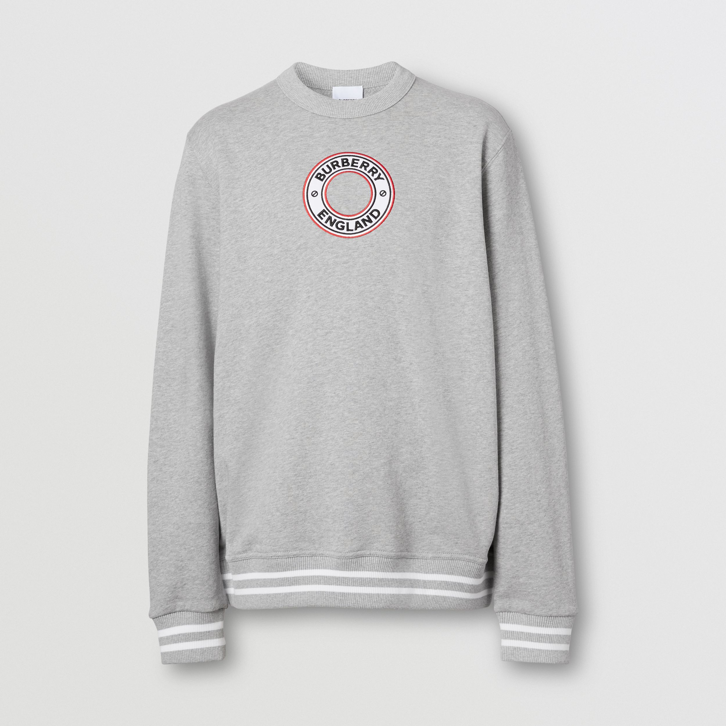 Logo Graphic Appliqué Cotton Sweatshirt in Pale Grey Melange - Men | Burberry - 4