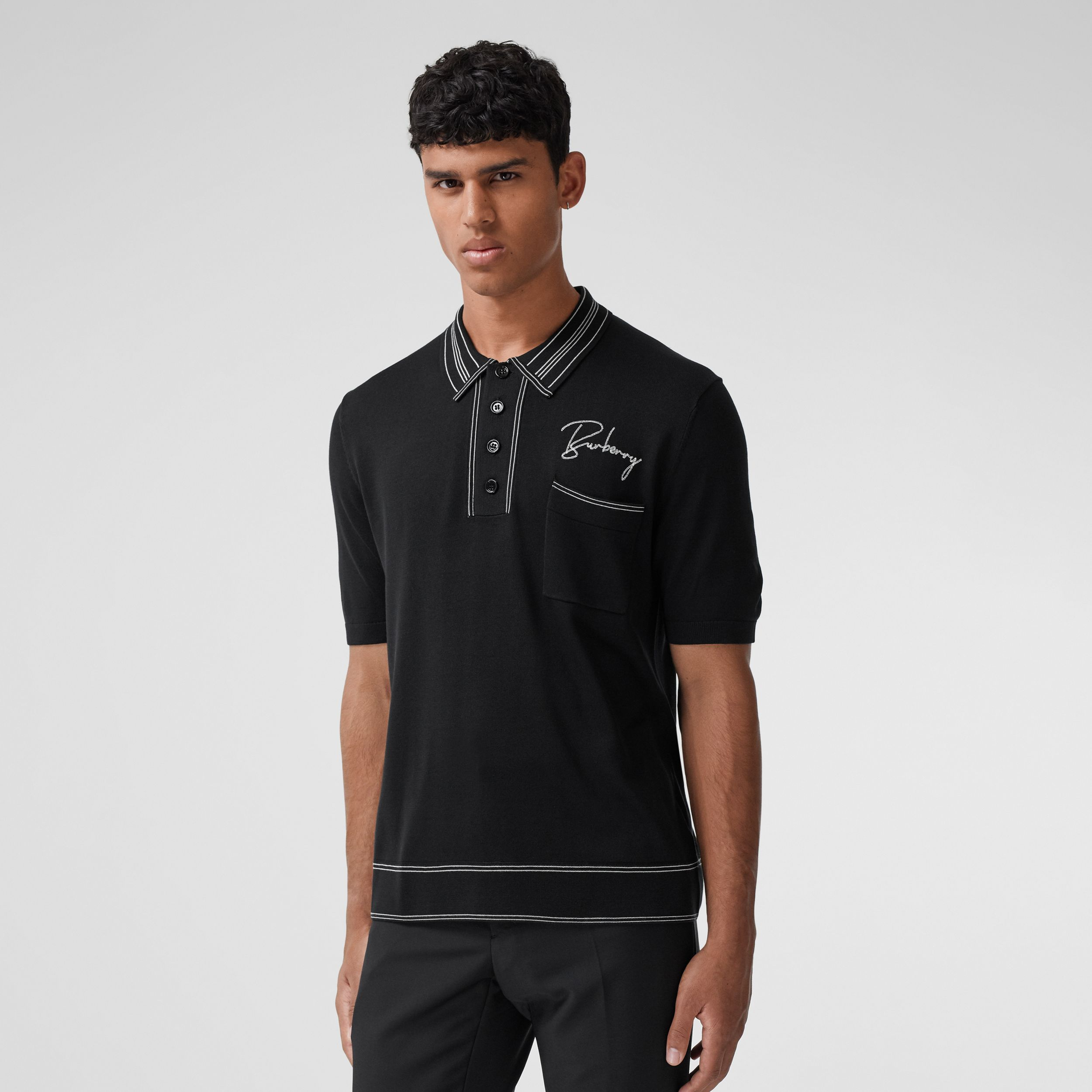 Embroidered Logo Knit Silk Polo Shirt - Men | Burberry - 1