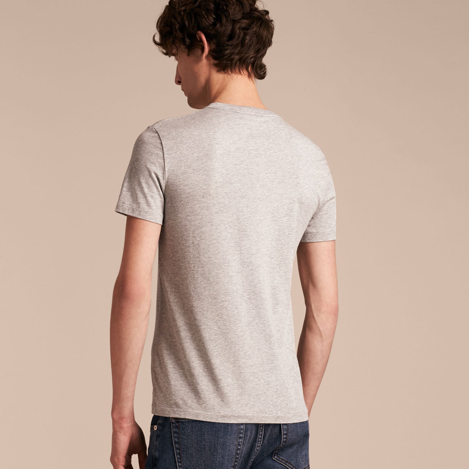 Cotton V-neck T-shirt Pale Grey Melange - gallery image 3