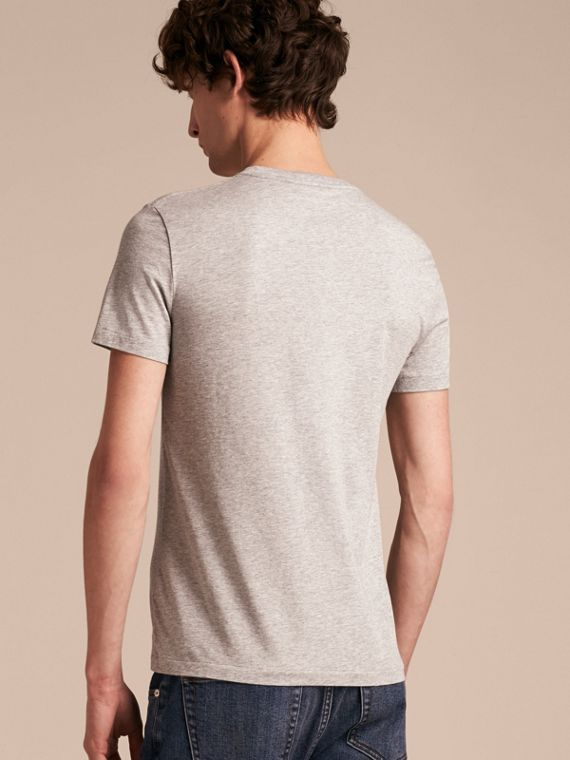 Cotton V-neck T-shirt Pale Grey Melange - cell image 2