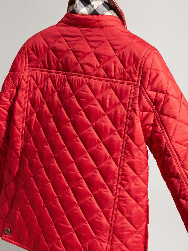 Detachable Hood Lightweight Quilted Jacket in Bright Cherry Red | Burberry - cell image 2