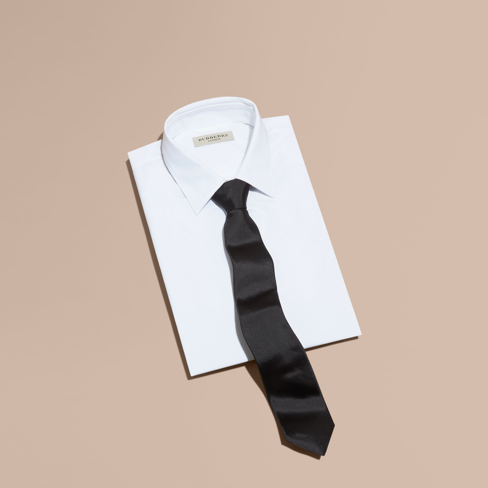 Black Modern Cut Silk Tie - gallery image 1