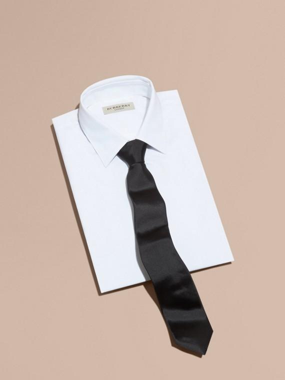 Corbata de pala moderna en seda (Negro)