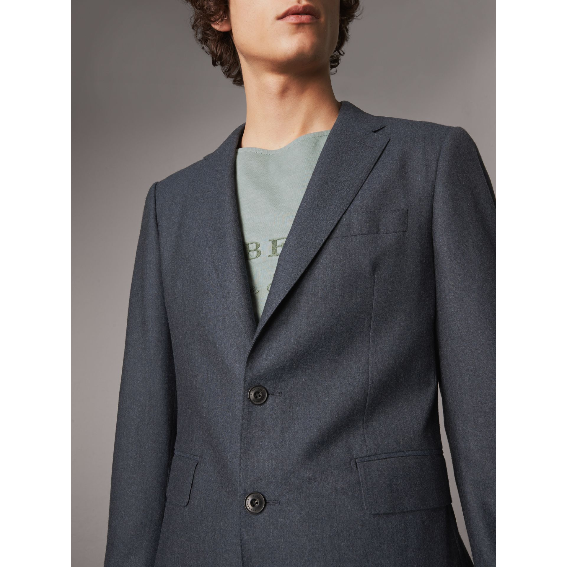Soho Fit Wool Flannel Suit in Petrol Blue Melange - Men | Burberry Australia - gallery image 2