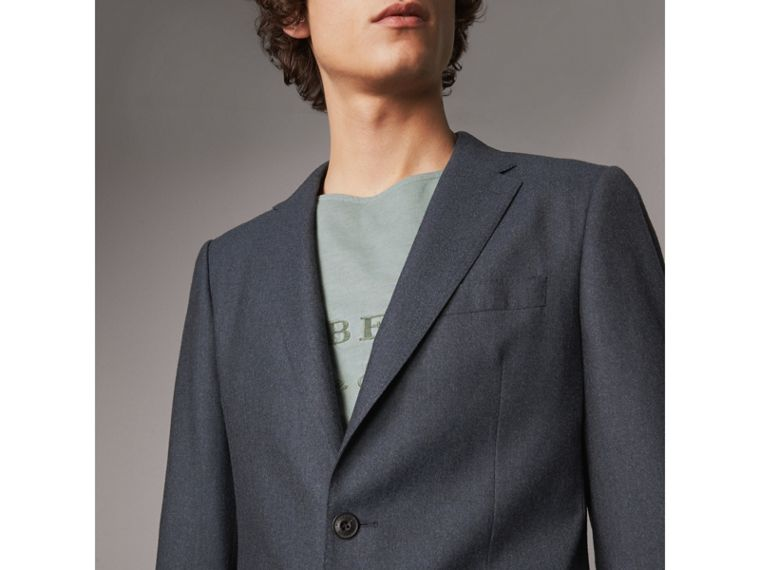 Soho Fit Wool Flannel Suit in Petrol Blue Melange - Men | Burberry Australia - cell image 1