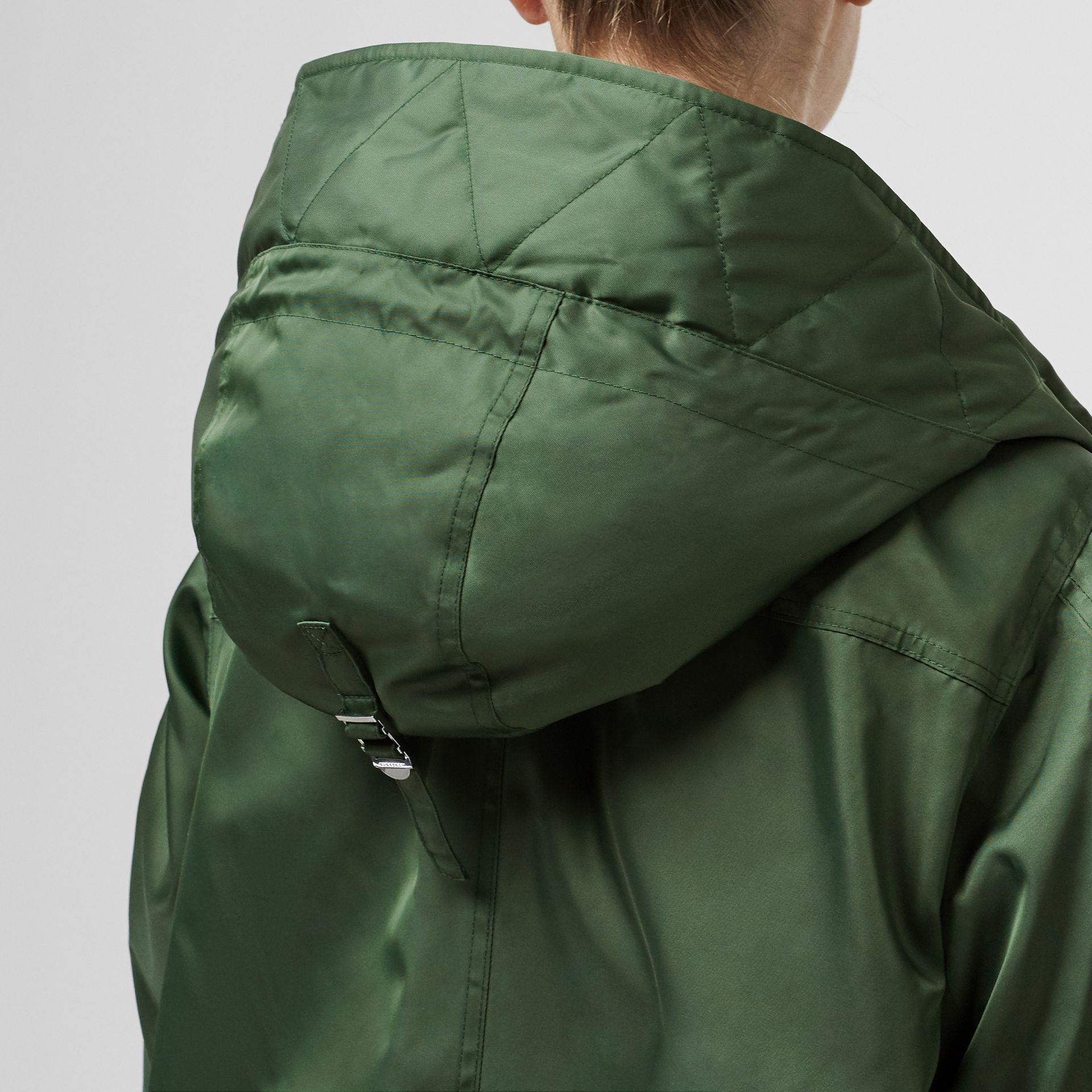 Detachable Faux Fur Trim Hood Parka in Grass Green - Women | Burberry Singapore - gallery image 4