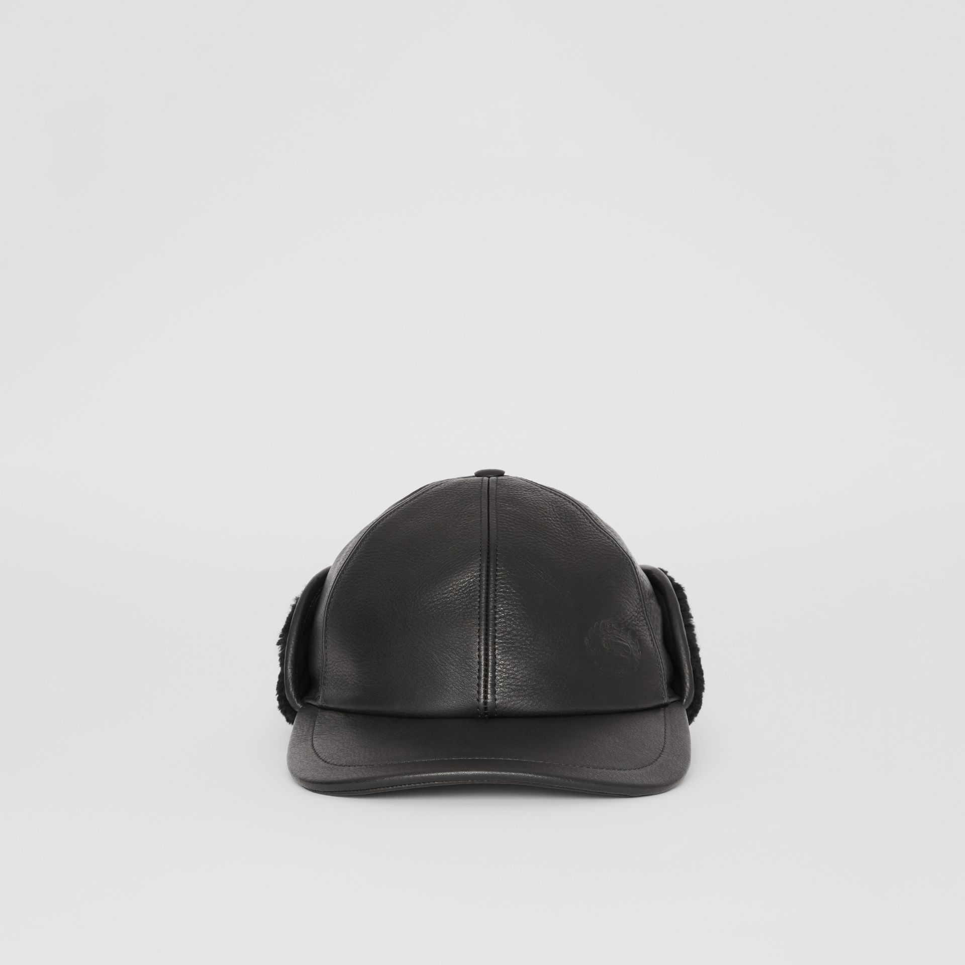 Shearling and Leather Baseball Cap in Black | Burberry Australia - gallery image 5