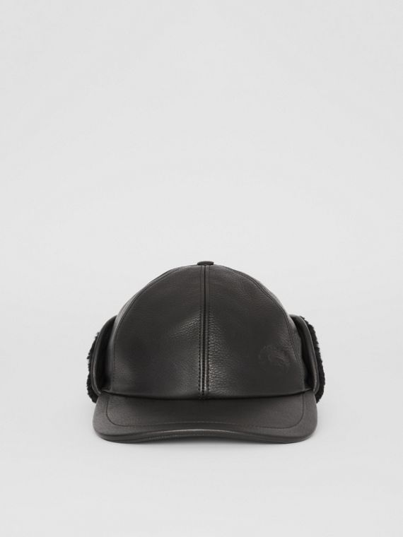 Shearling and Leather Baseball Cap in Black