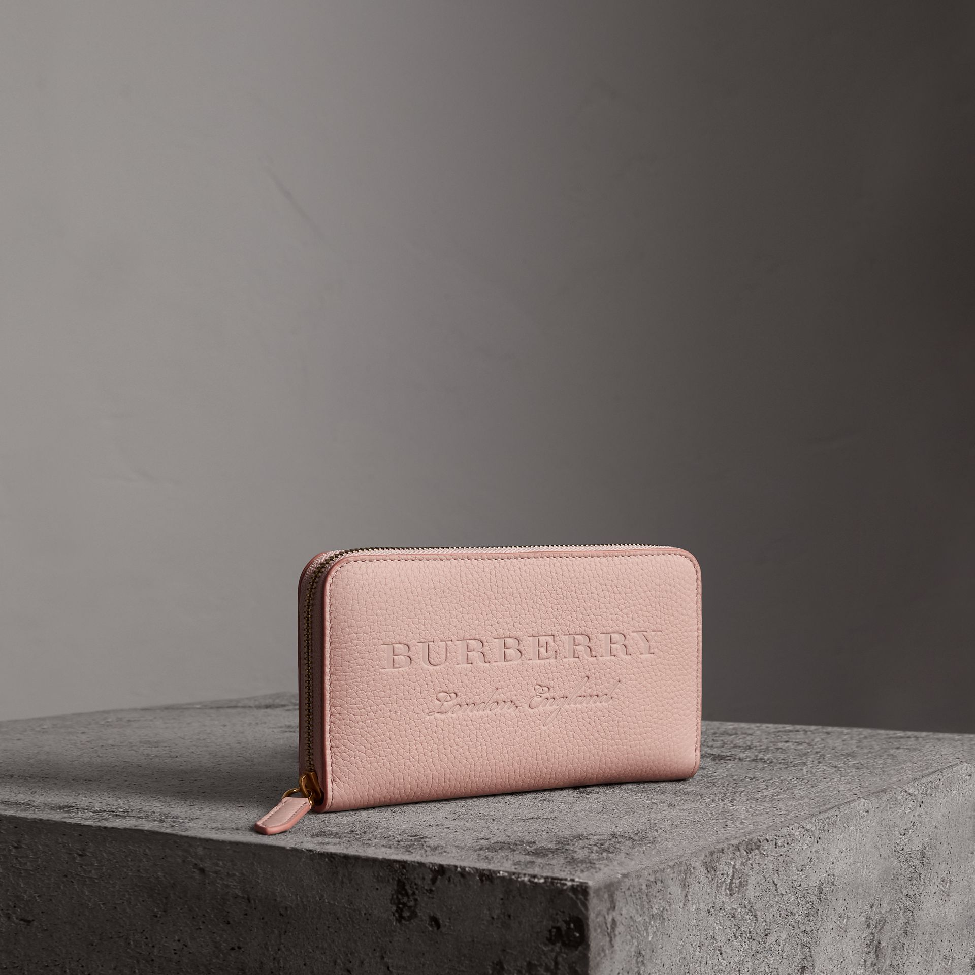 Embossed Leather Ziparound Wallet in Pale Ash Rose | Burberry - gallery image 0