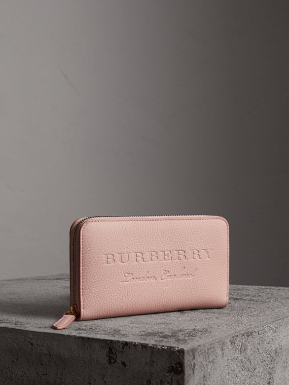 Embossed Leather Ziparound Wallet in Pale Ash Rose