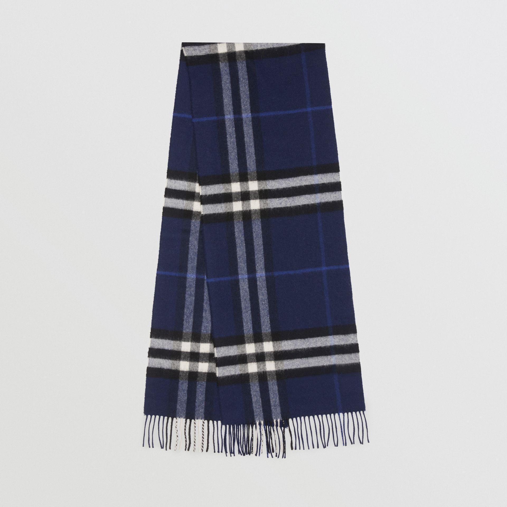 The Classic Check Cashmere Scarf in Indigo Blue | Burberry United Kingdom - gallery image 0