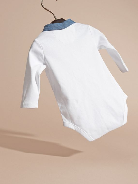White Long-sleeved Chambray Detail Bodysuit - cell image 3