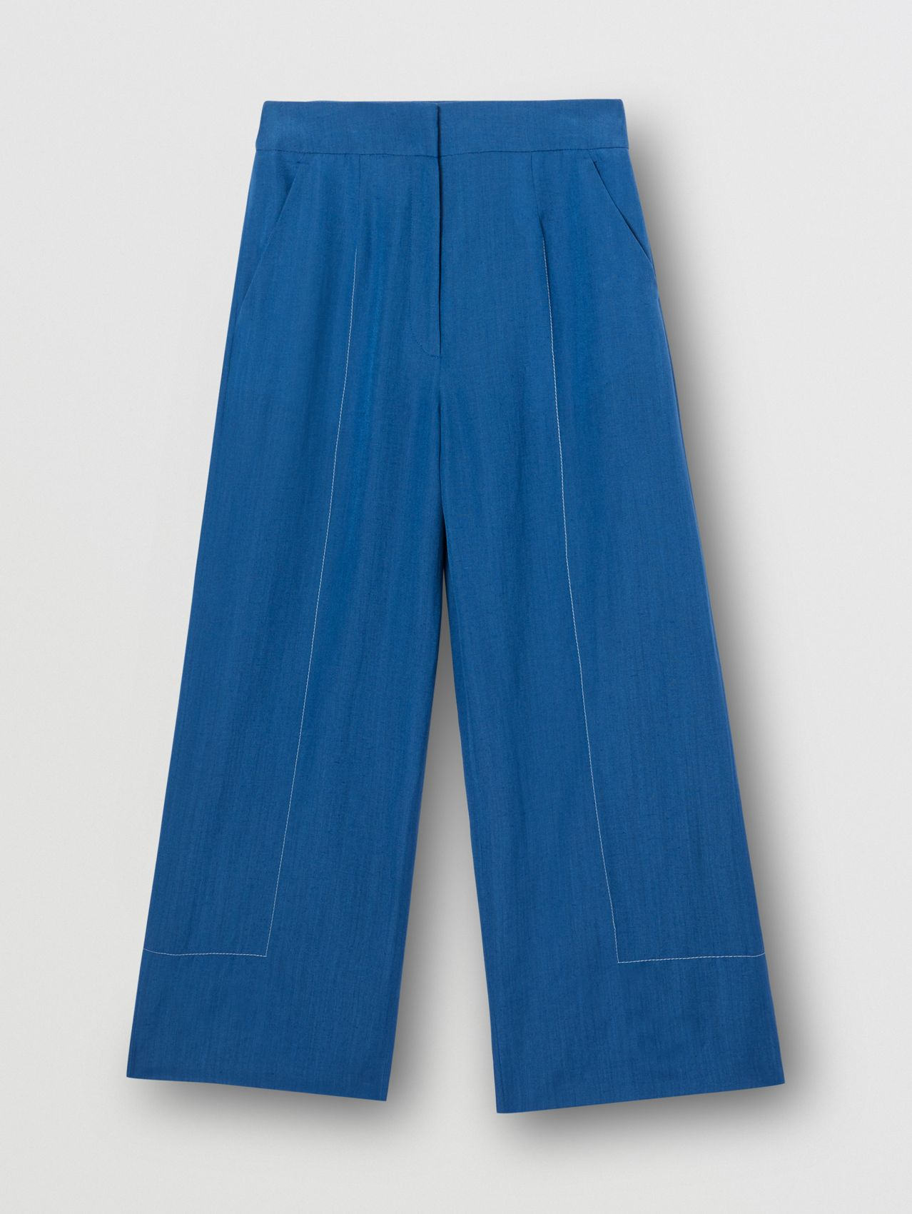 Topstitched Mohair Linen Silk Wide-leg Trousers in Dark Cerulean Blue