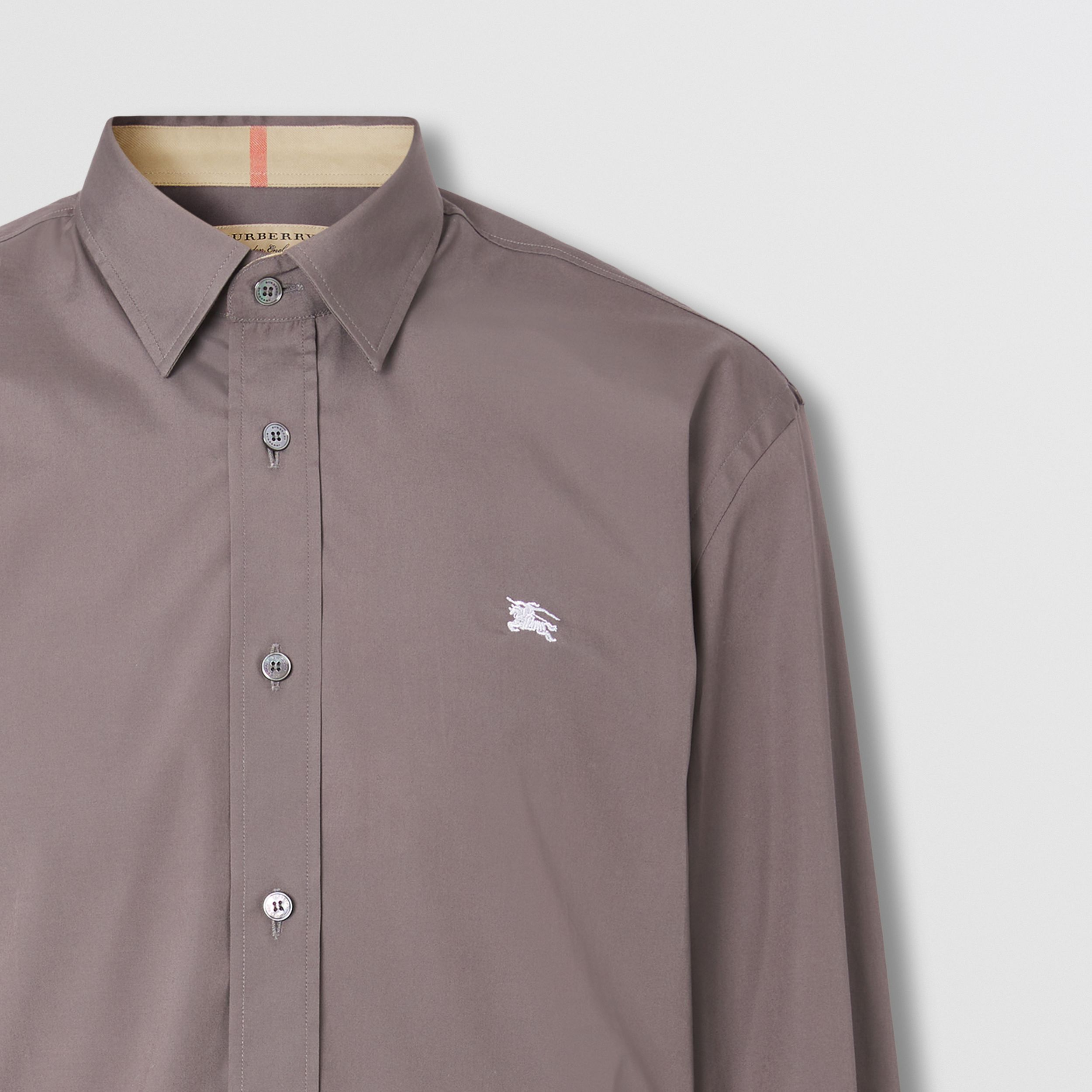 Embroidered EKD Stretch Cotton Poplin Shirt in Stone Grey - Men | Burberry - 2