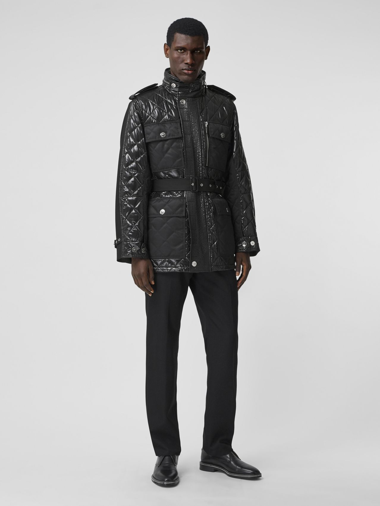 Packaway Hood Quilted Nylon and Cotton Field Jacket in Black/black